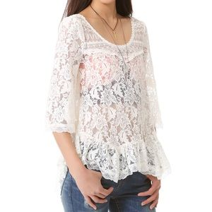 Free People Scallop Lace Top White Size Small
